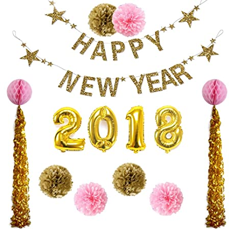 ipalmay 2018 new year eve gold theme decorations set glitter banner 32 inch balloon paper
