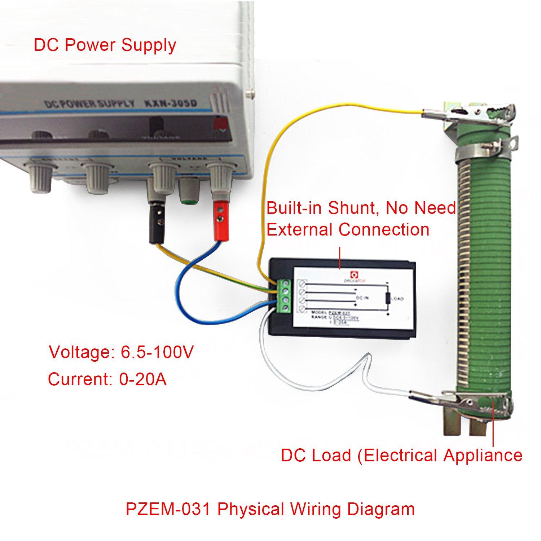 Drok 028 Dc 0 100v 10a Digital Current Tester Gauge Red Green Amp Meter Wiring Diagram Bright Led Display