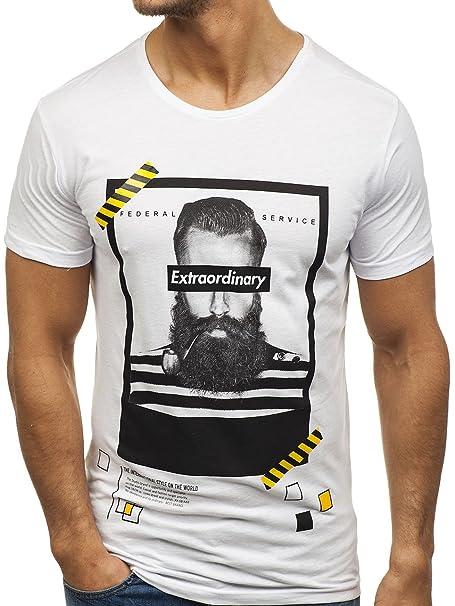 BOLF Hombre Camiseta De Manga Corta Escote Redondo Estampado 3C3 Motivo tJUAVncw