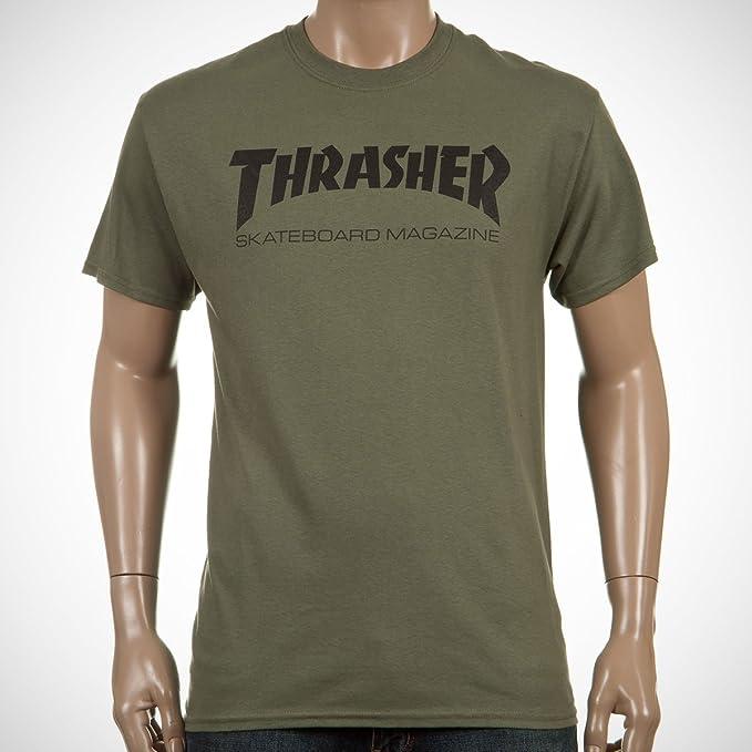 THRASHER Skate mag Logo tee Army Green Small: Amazon.es: Ropa