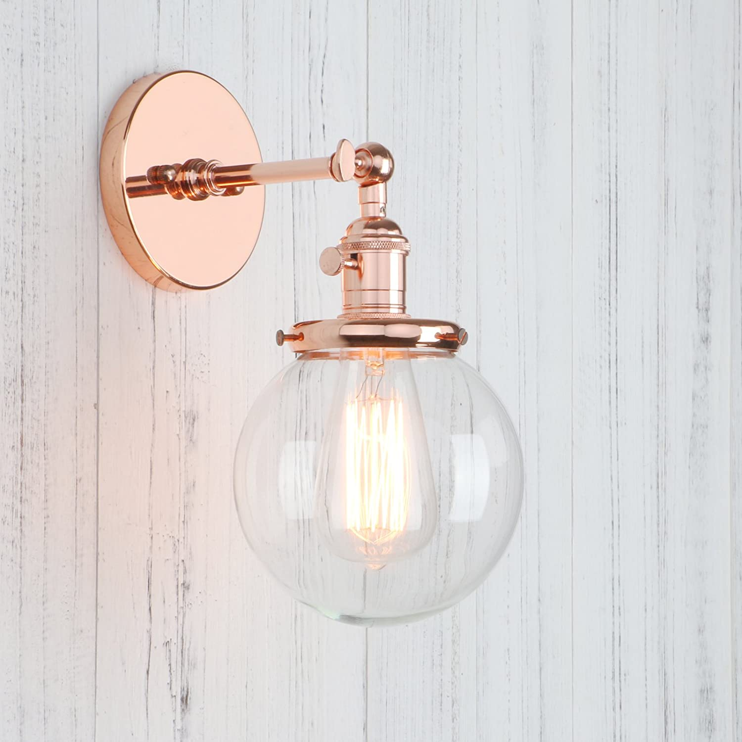 Permo Single Sconce with Funnel Flared Glass Clear Glass Shade 1 ...