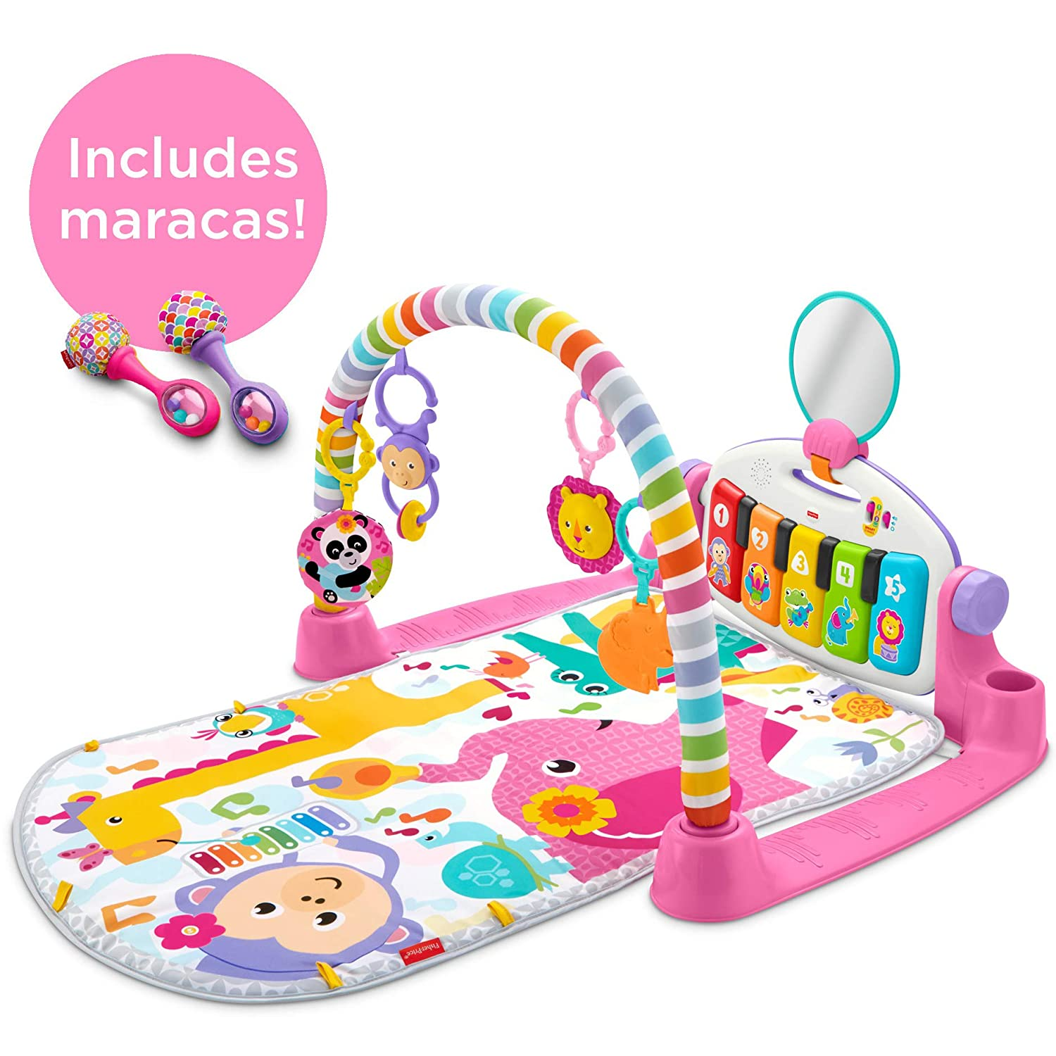 Fisher-Price Deluxe Kick 'n Play Piano Gym & Maracas [Amazon Exclusive] Fisher-Price Baby GDD08