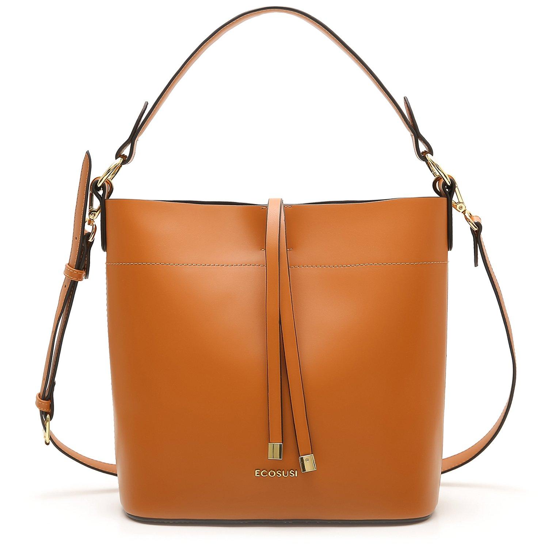 ECOSUSI Bucket Bag Women Top Handle Handbags Satchel Purse Tote Bag Shoulder Bag, Brown