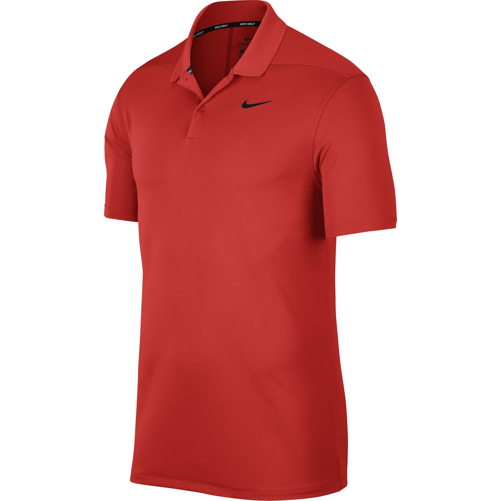 Nike Men's Dry Victory Polo Solid Left Chest, Habanero Red/Black, Small