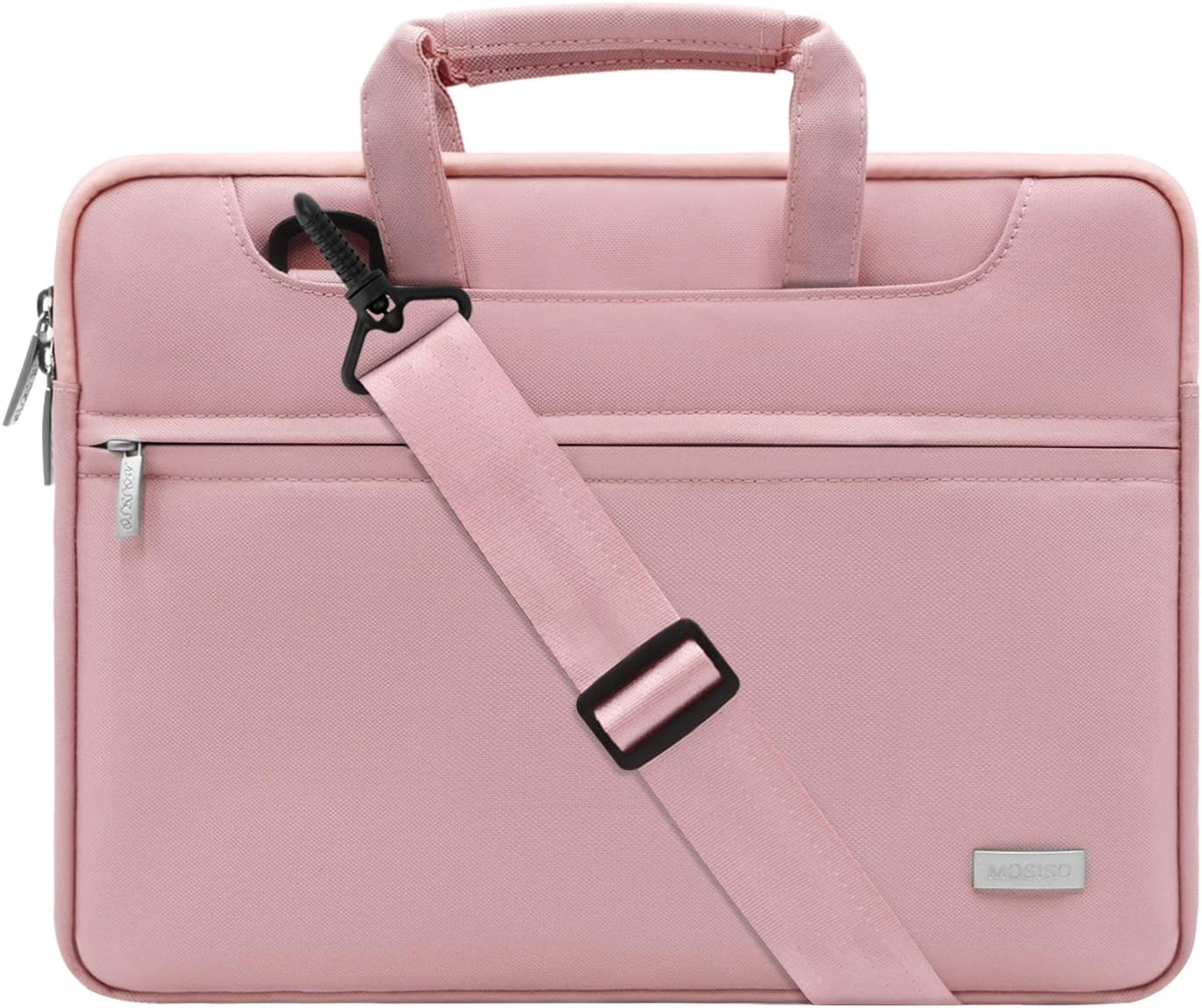MOSISO Laptop Shoulder Bag Compatible with 13-13.3 inch MacBook Pro, MacBook Air, Notebook Computer, Polyester Sleeve with Back Trolley Belt, Pink