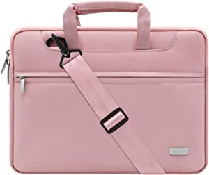 MOSISO Laptop Shoulder Bag Compatible with 2019 MacBook Pro 16 inch with Touch Bar A2141, 15-15.6 inch MacBook Pro Retina 2012-2015, Notebook, Polyester Sleeve with Back Trolley Belt, Pink