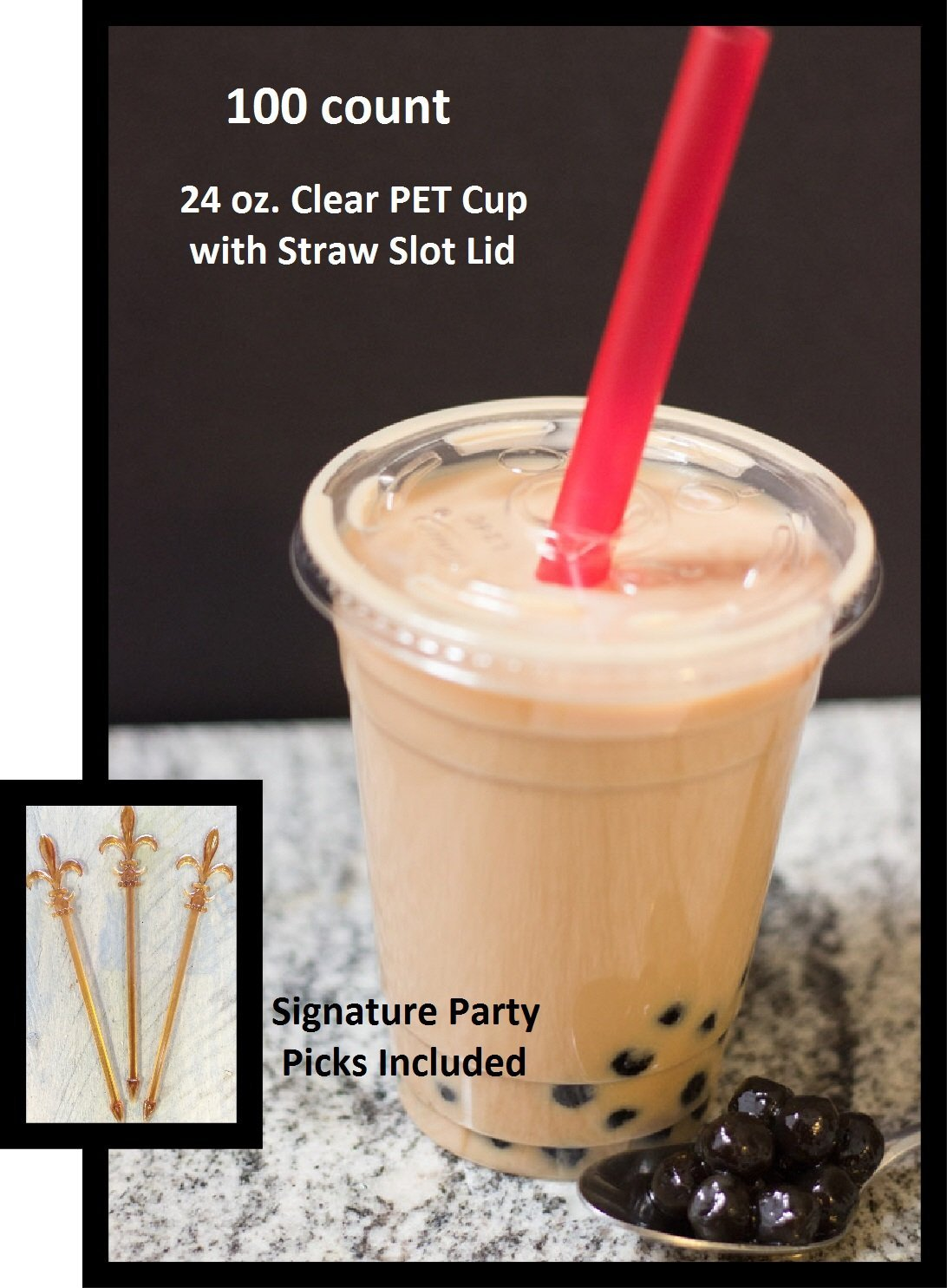 100 Set 24 Oz Plastic Cups with Dome Lids for Iced Coffee Milkshakes Smoothies