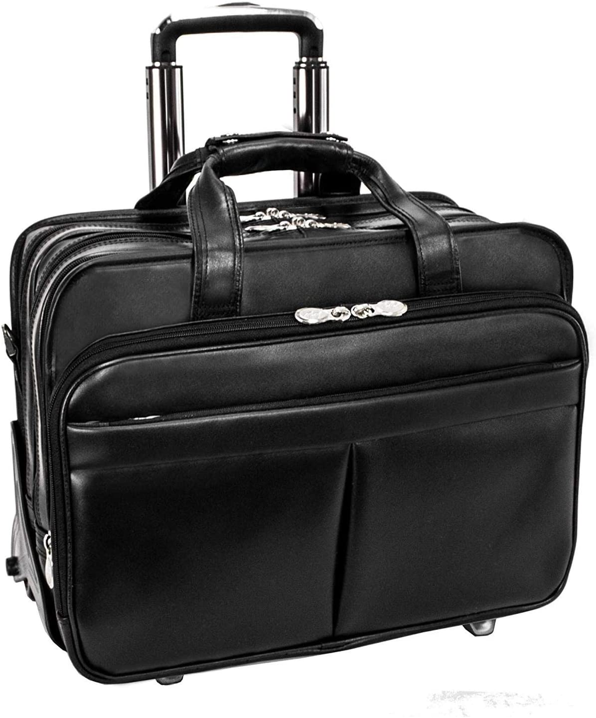 "McKlein R Series Roosevelt 17"" Leather Detachable Wheeled Laptop Case with Removable Sleeve"
