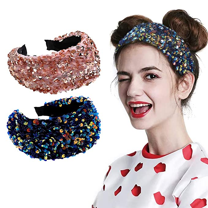 Details about  /Cy/_ AU/_ BH/_ Women Glitter Sequined Hair Hoop Hairband Face Washing Headband Head