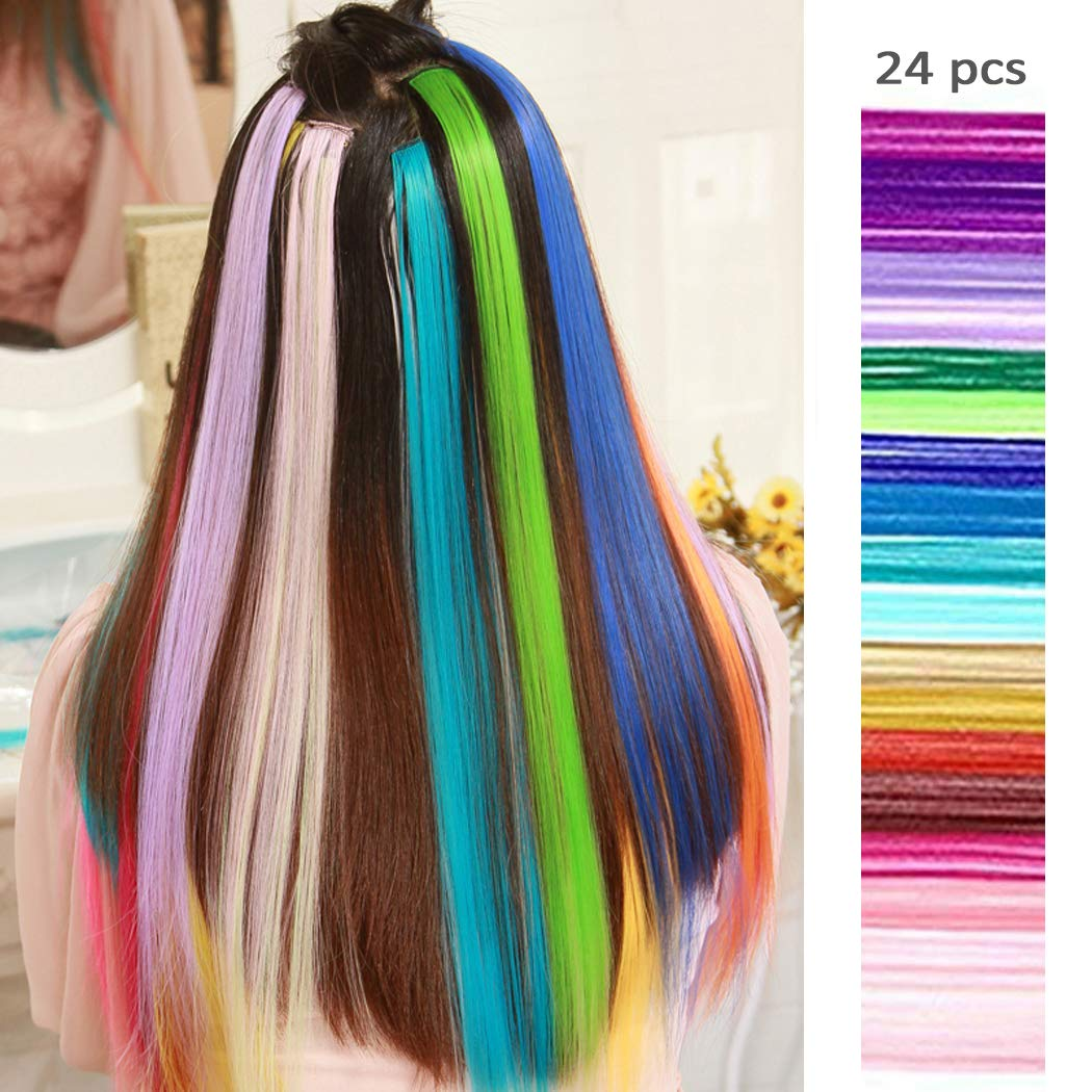 24 Pcs of 20 Inches Multi-colors Party Highlights Colorful Clip in Synthetic Hair Extensions,straight long Hairpiece by TangTanger