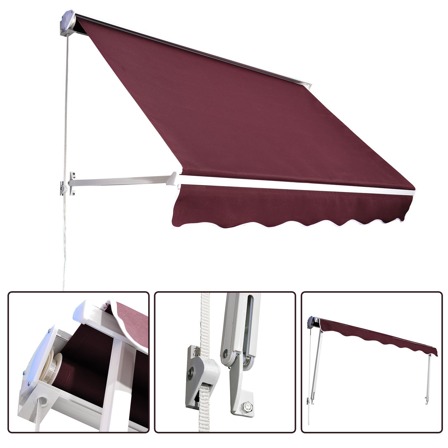 Green Outsunny 6'x2.3 Drop Arm Window Awning Manual Retractable ...