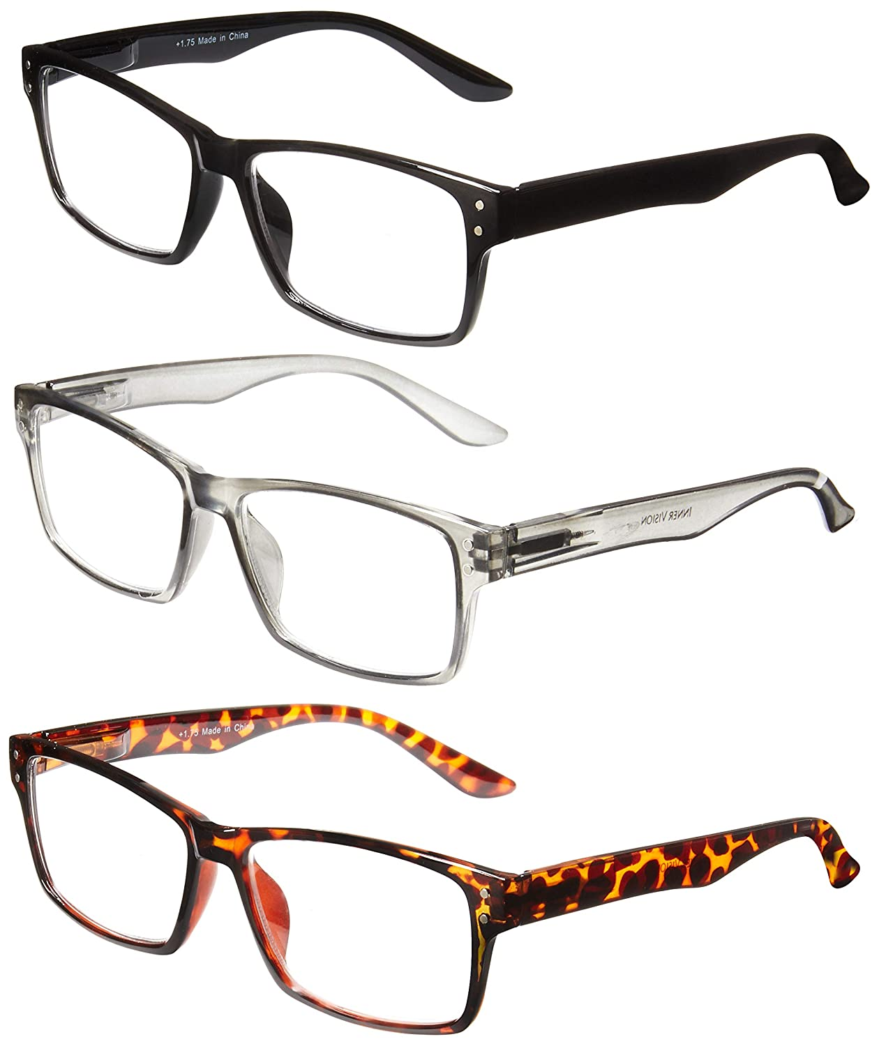 db1dad10cfef Amazon.com: Inner Vision 3-Pack Reading Glasses Set w/Spring Hinges for Men  & Women - (1.75 x Magnification) - 3 Clear Lens Readers (Neutral Color  Variety): ...