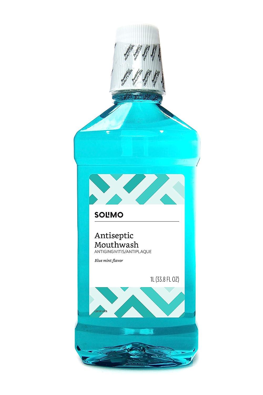Amazon Brand - Solimo Antiseptic Mouthwash, Blue Mint, 33.8 Fl Oz (Pack of 1)