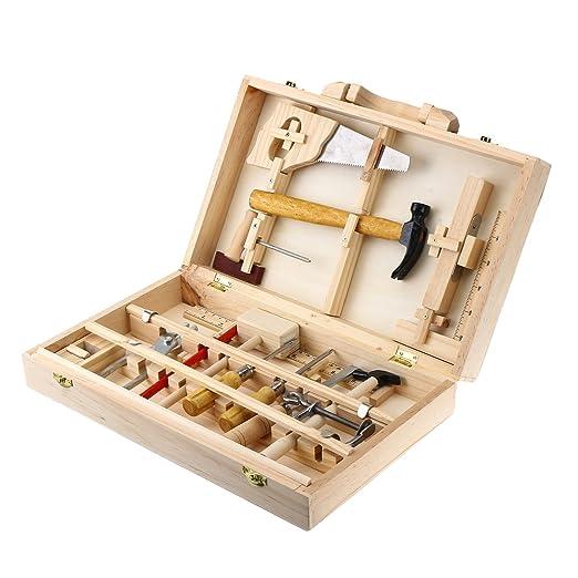 Amazon.com: WCHAOEN Kid Wooden Storage Toy Tool Set ToolBox DIY ...