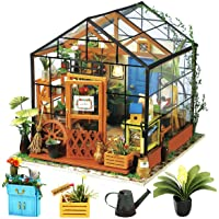 Rolife DIY Miniature Dollhouse Kit,Green House with Furniture and LED,Wooden Dollhouse Kit,Best Birthday for Women and…