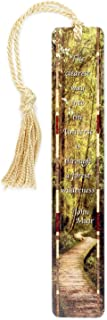 product image for John Muir Quote Combined with Color Photograph Woodlands Path by Mike DeCesare - Wooden Bookmark with Tassel - Search B072K1CVBM to See Personalized Version