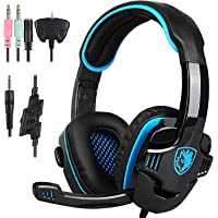 Stereo Gaming Headset PS4 Xbox One S, SADES SA930S Noise Cancelling Over Ear Headphones with Mic, Bass, Soft Memory Earmuffs for PC Laptop Mac Nintendo Switch Games Mobile 6956766912832