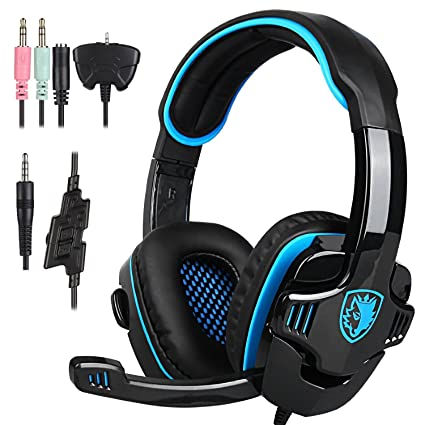 6bcd60515db Amazon.com: Sades SA708GT 3.5mm Stereo Gaming headsets Headphones with  Microphone for PC, Laptop, Tablet, PS4,Xbox one, Mobile Phones, Black and  Blue: ...