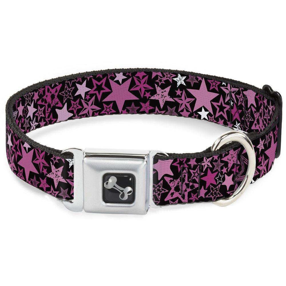Buckle-Down Seatbelt Buckle Dog Collar Stargazer Black Pink 1  Wide Fits 9-15  Neck Small