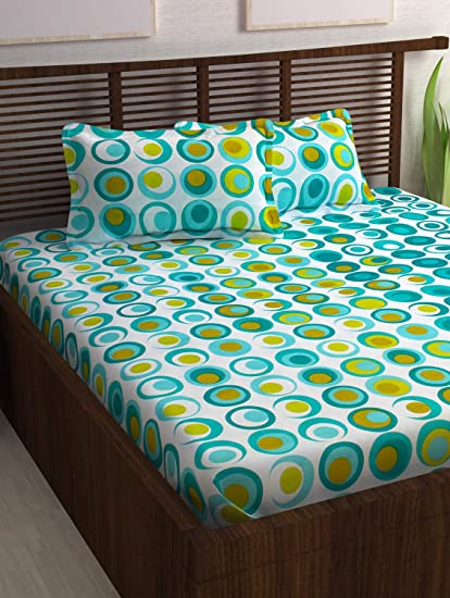 81db70f67b Story@Home Candy 120 TC Cotton Double Bed Sheet with 2 Pillow Covers -  Geometic Circles, Queen Size, Cyan and White: Amazon.in: Home & Kitchen