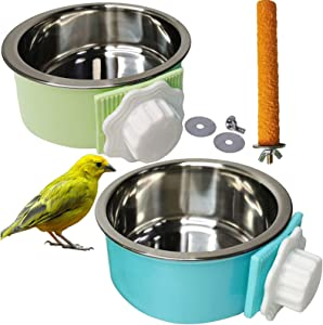 Bird Feeding Dish Cups Parrot Removable Stainless Steel Bowl Perch Stand Platform Pet Food Water Feeder Cage Accessories 1 Pcs Bird Stand Toy for Parakeet Conure Cockatiels Lovebirds Budgie Chinchilla