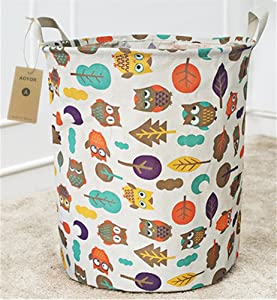 Kids Laundry Canvas Basket Toy Storage Bin Fabric Nursery Hamper Large Laundry with Handle,Collapsible & Convenient (Owl)