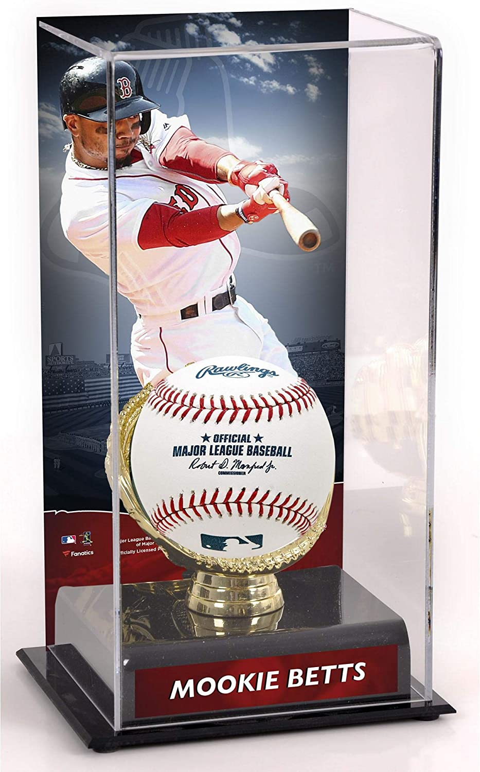 Mookie Betts Boston Red Sox Sublimated Display Case with Image Baseball Free Standing Display Cases