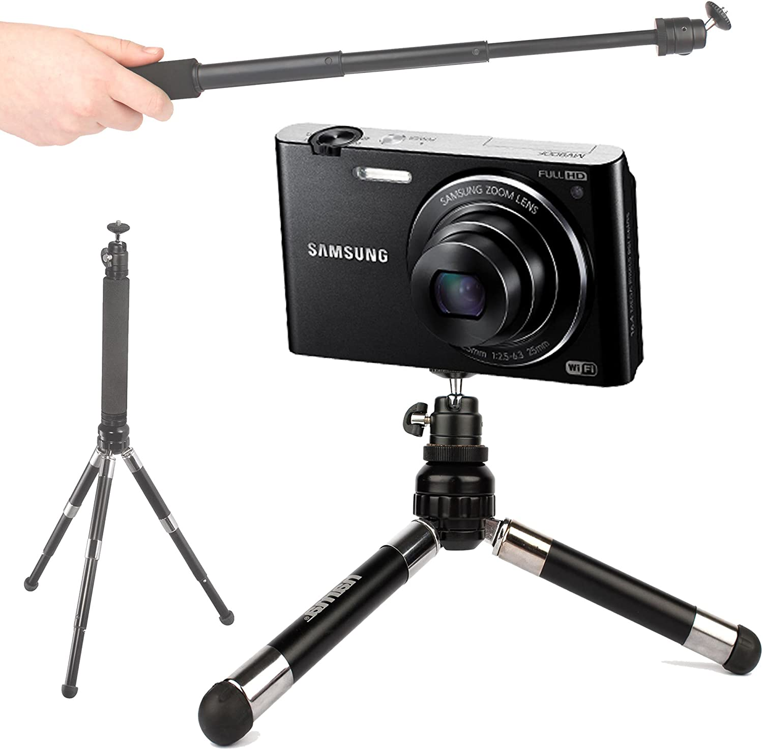 Compatible with Samsung MV900F DURAGADGET Lightweight Telescopic 2-in-1 Tripod//Monopod