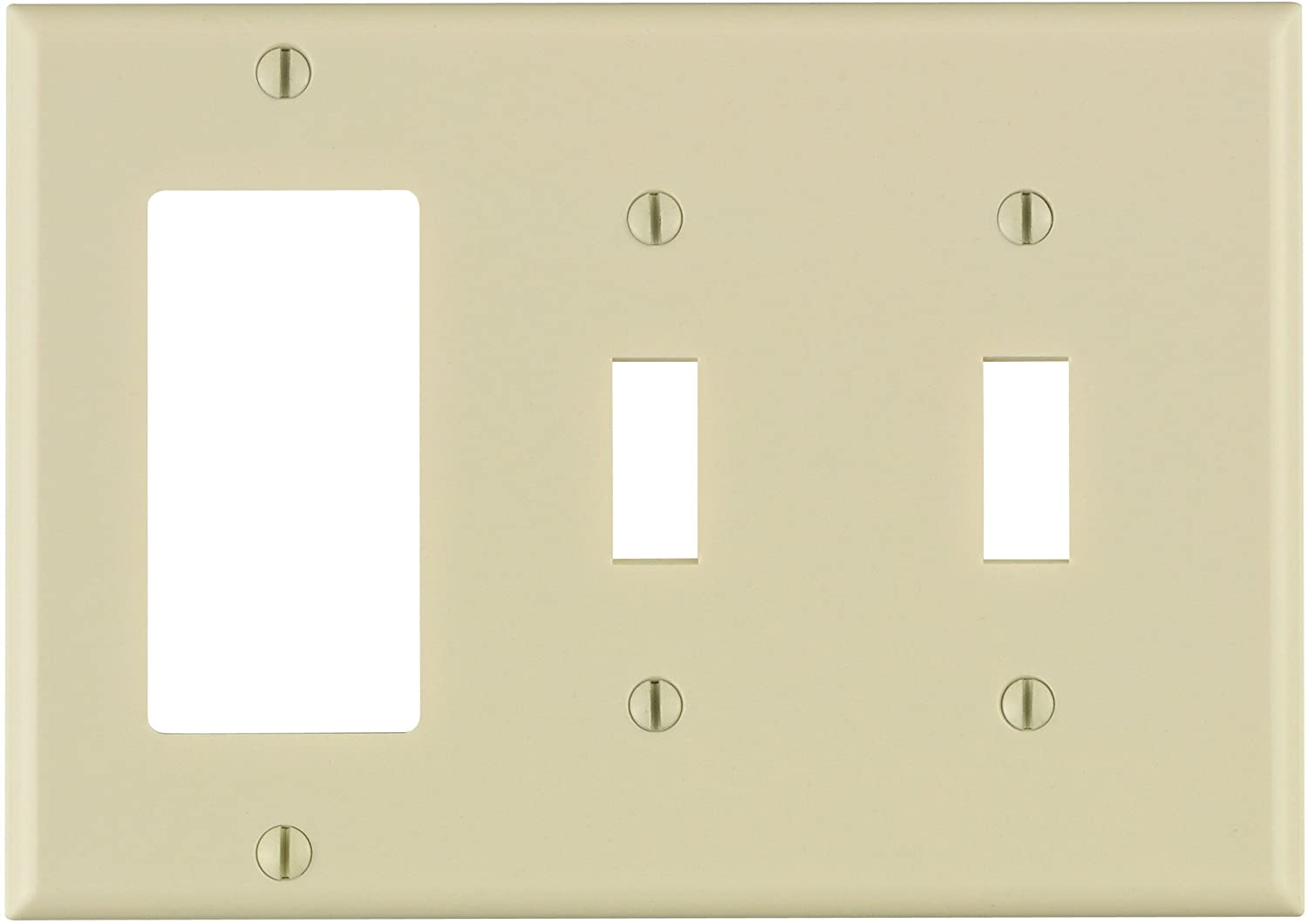 Leviton 80421-T 3-Gang 2-Toggle 1-Decora/GFCI Device Combination Wallplate, Standard Size, Thermoset, Device Mount, Light Almond