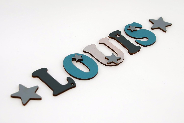 14cm Holzbuchstaben in toller Farbkombination für die Kinderzimmerwand. Einzigartige Kinderzimmerdekoration. Handbemaltes Unikat. Als Wunschname individualisierbar / Inklusive 2 Sternmotiven in passenden Farben. Perfekt als Geburtsgeschenk oder Taufgeschen
