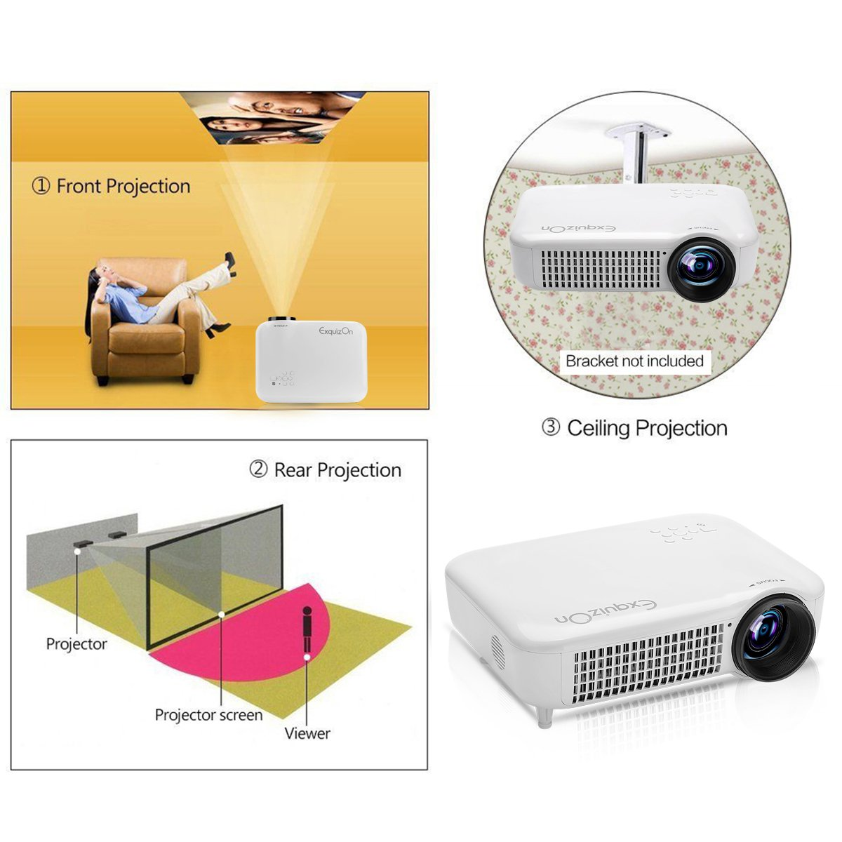 Exquizon 5018D Proyector LED - 1280 x 800 píxeles: Amazon.es ...