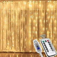 3Mx3M Cortina de Luces Navidad, 300 LEDs Luz Cadena Resistente al Agua, 8 Modos de Luz Cadena USB Luces LED con Mando a…