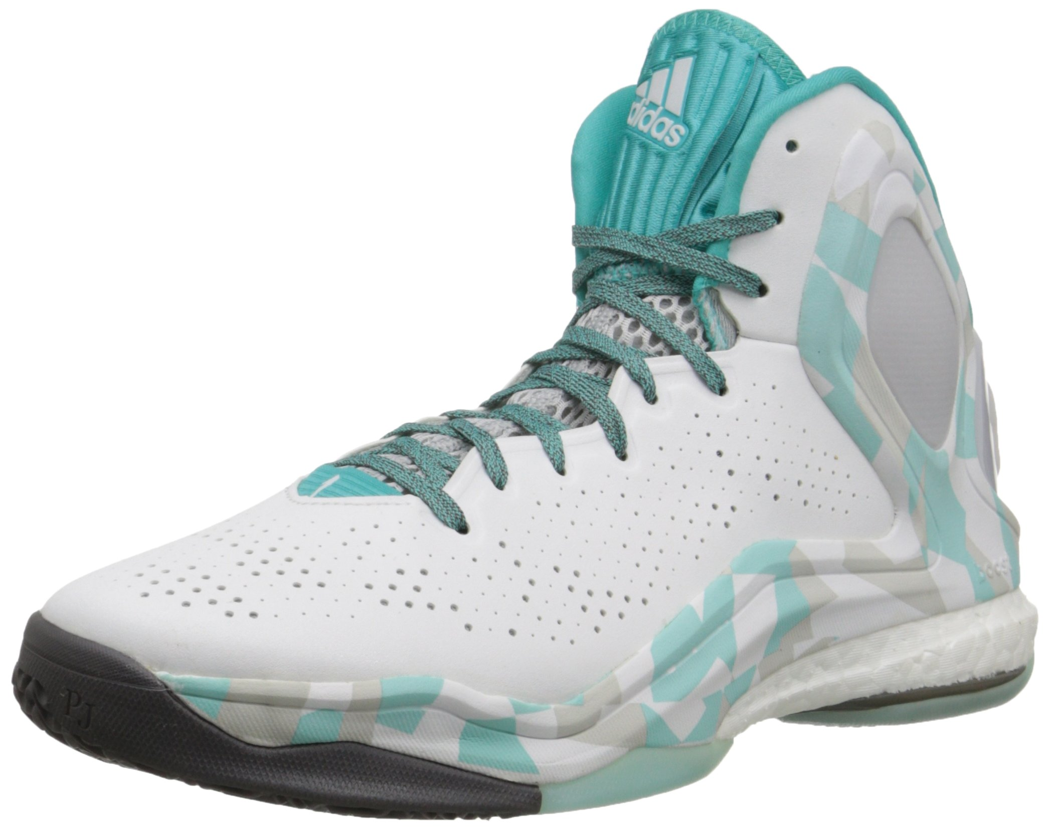reputable site f5c24 ee1fe Galleon - Adidas Performance Men s D Rose 5 Boost Basketball Shoe,  White Grey Blue, 14 M US