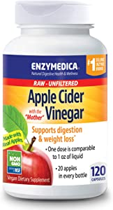 Enzymedica, Apple Cider Vinegar, Natural Support for Digestion and Healthy Weight Balance with The Mother Preserved in Each Serving, Raw, Unfiltered, Non-GMO, Vegan, 120 Capsules (60 Servings)