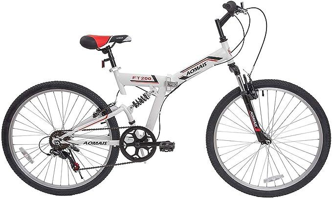 Murtisol Bicicletas de montaña Plegables de 26 Pulgadas con suspensión Completa y Horquilla Plegable diseñada y Asiento Ajustable y desviador de 7 velocidades: Amazon ...