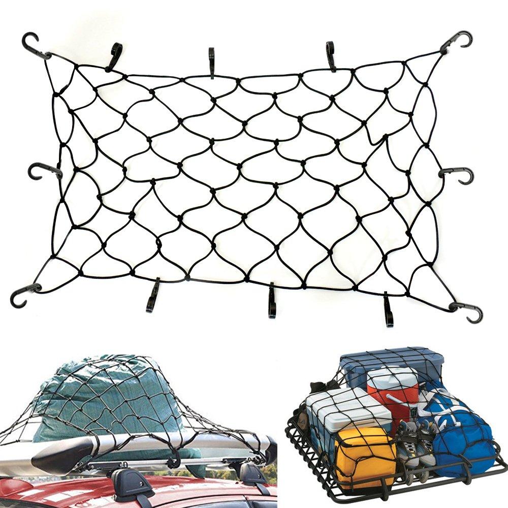 EZYKOO 120 x 90 para techo de auto neto SUV Elá stico Cargo Red de malla negro Superior equipaje cuerda elá stica con 10 ganchos ajustables Ecooltek FBA_AT-CRBN