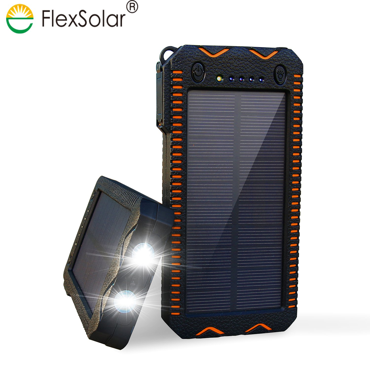 FlexSolar Solar Charger, 12000mAh Portable Solar Power Bank with Cigarette Liter, Dual USB Ports, Dual LED Lights, External Battery Power Bank for iPhone, Android and other Smart Device (Orange)