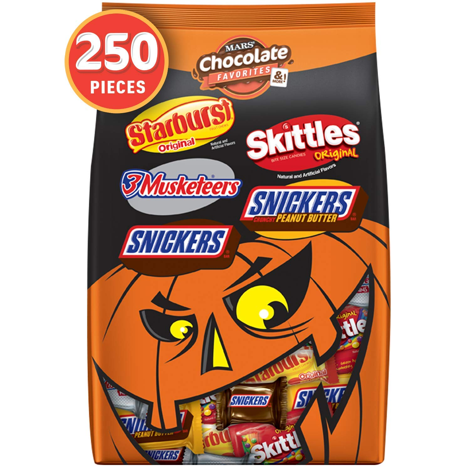 SNICKERS, 3 MUSKETEERS, SKITTLES & STARBURST Halloween Chocolate Candy Variety Mix 95.1-Ounce 250 Count (Pack of 1) by Mars