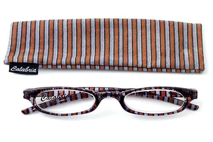 a3fa58c8601 Amazon.com  Calabria 728 Striped Reading Glasses w  Matching Case in ...
