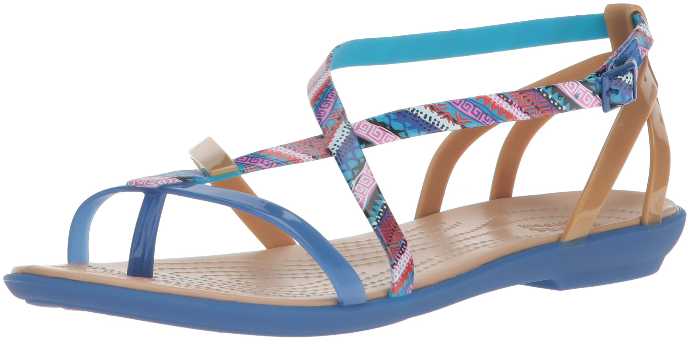Crocs Women's Isabella Gladiator Flat Sandal, Blue Jean/Gold, 10 M US