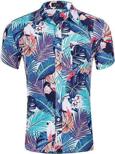 Space Climber Camisa Hawaiana Aloha para Hombres de Manga Corta ...