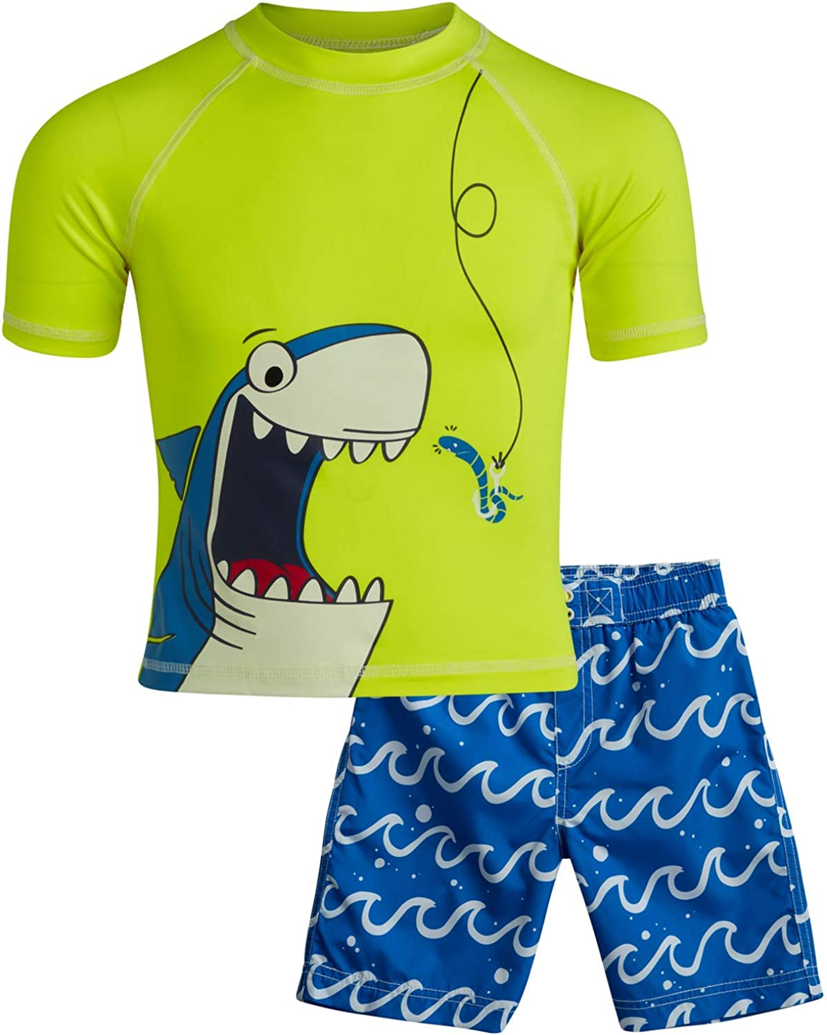 Sharks//Crabs//Dinosaurs Infant//Toddlers Wippette Boys Swimwear Rash Guard UPF 50+ and Swimsuit Trunk 2-Piece Set