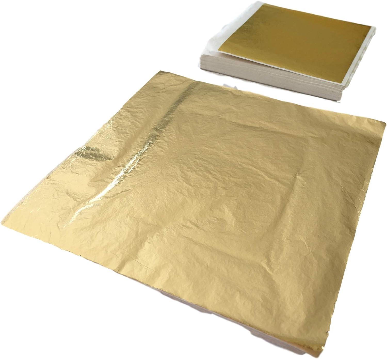 100 o Foglia Metallo Oro qualit/à Professionale 200 Pezzi Lavorazione Semplice per doratura /& Decorazioni /& Fai da Te GoldenLine Foglia Oro 14 x 14 cm o 9 x 9 cm Lucido