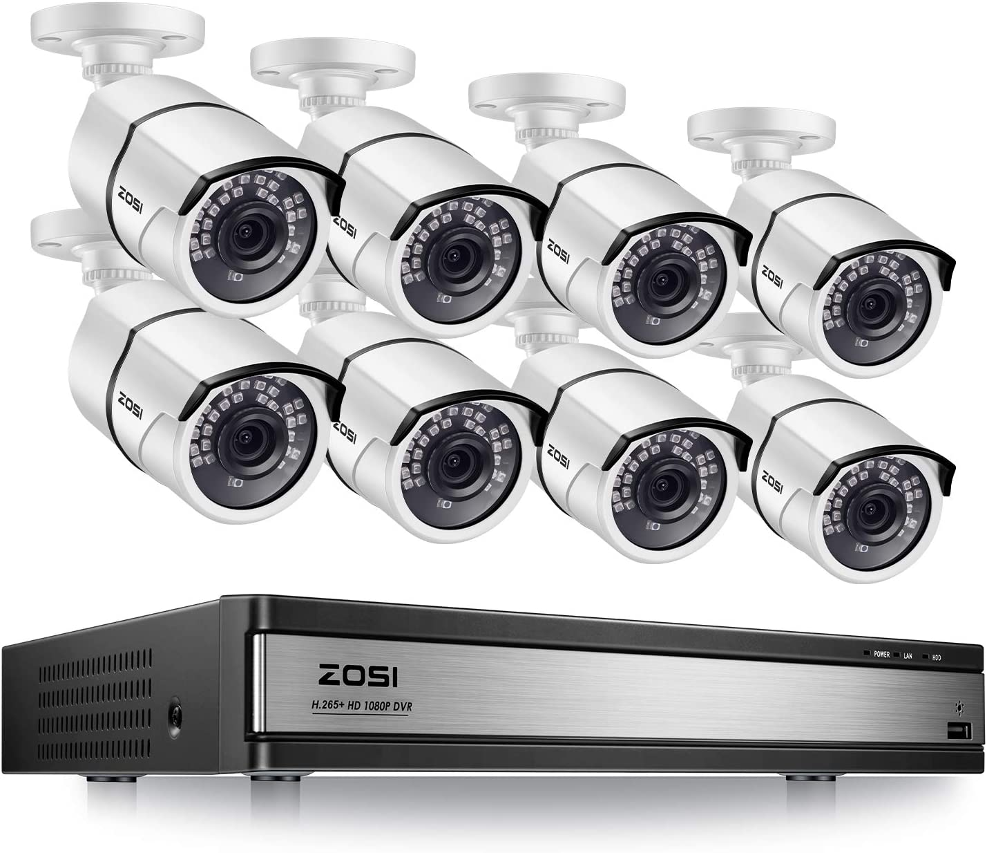 ZOSI 1080p 16 Channel Security Camera System, H.265+ 16CH Hybrid DVR without Hard Drive and 8 x 1080p CCTV Bullet Camera Outdoor Indoor with 120ft Night Vision ,105°Wide Angle, Remote Access