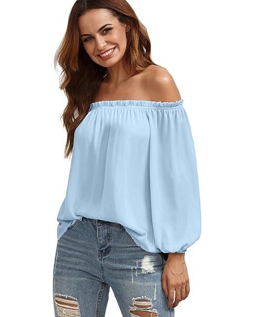 StyleDome Mujeres Camiseta Mango Largo Blusa Cuello Sin Tirantes Blusa Hombros Descubiertos Tops: Amazon.es: Ropa y accesorios