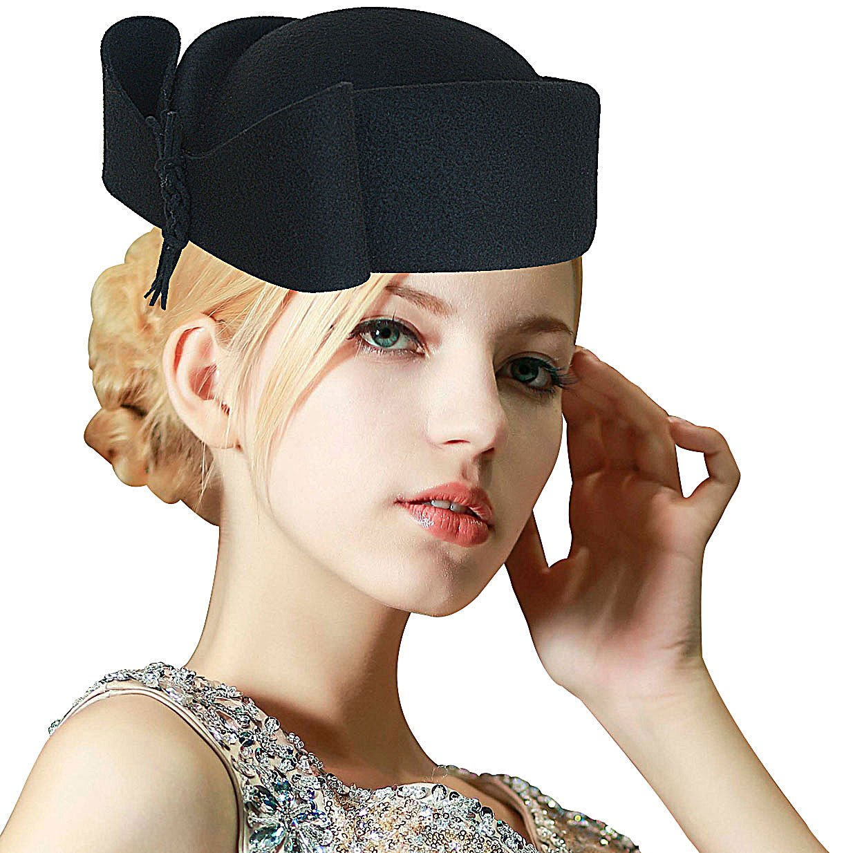 d9d1986c2e95e Lawliet Ladies Teardrop Fancy Wool Fascinator Cocktail Pillbox Hat Formal  Racing A253 (Black) at Amazon Women s Clothing store