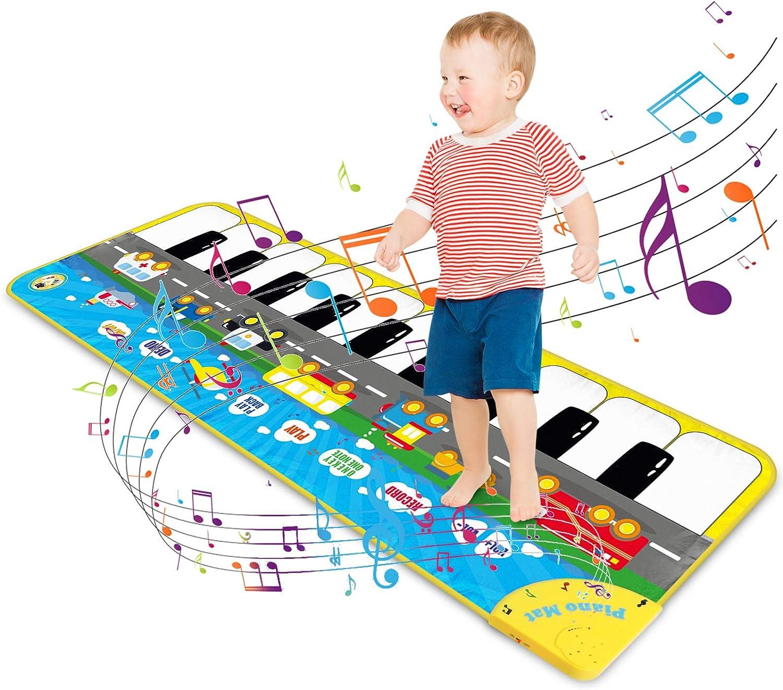 Magicfun Alfombra de Piano para Niños, Alfombrilla de Baile de Juego Musical Teclado Ajustable con 9 Sonidos de Vehículos, Juguetes Educativos Regalos para Infantil Bebé