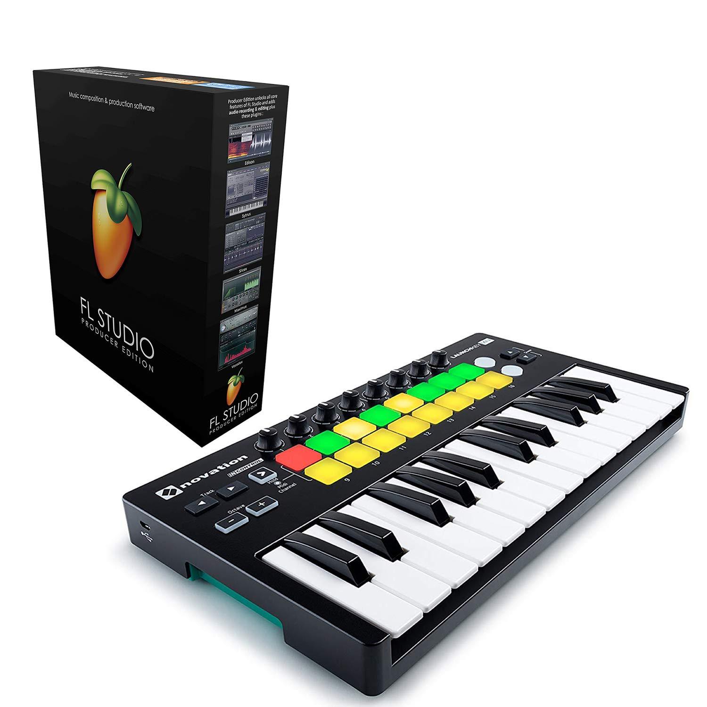 Novation Launchkey Mini 25-Mini-Key USB Keyboard Controller For Ableton Live bundled with FL Studio 20 Producer Edition [Download Card] by Genesis Bundles