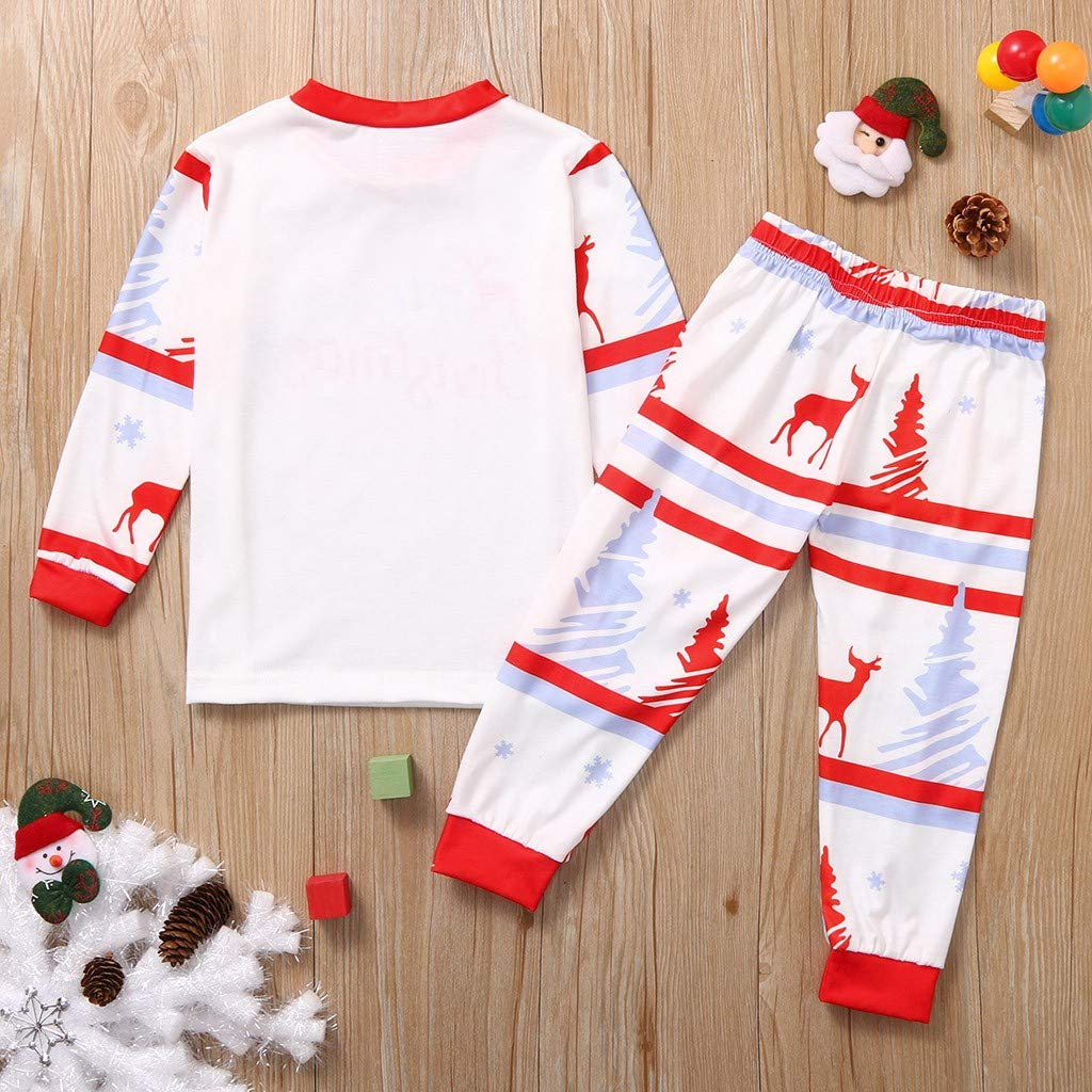 Pants Merry Christmas Blouse Pajamas Family Matching Sleepwear Set Pure White Dotted Red Long Sleeve Letter Cute Fawn Pattern Print Pajama Top