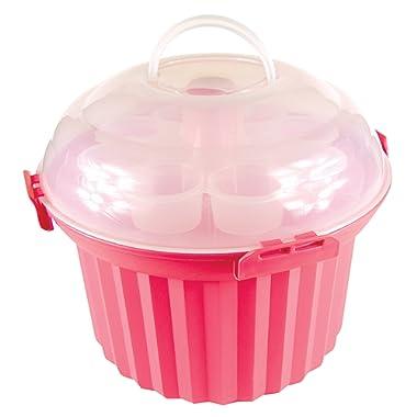 Fox Run 6973 Cupcake Carousel, Plastic, 24-Cups, Pink